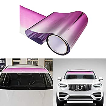 Carrfan Car Front Windshield Tint Sun Shade Strip Visor Protection Film Creative Windshield Stickers Vehicle Body Decals Decoration  Pink