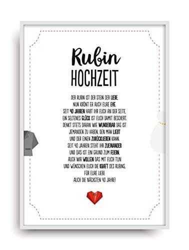 Hochzeit Karte RUBINHOCHZEIT Kunstdruck 40. Hochzeitstag Rubin Brautpaar Bild ohne Rahmen DIN A4