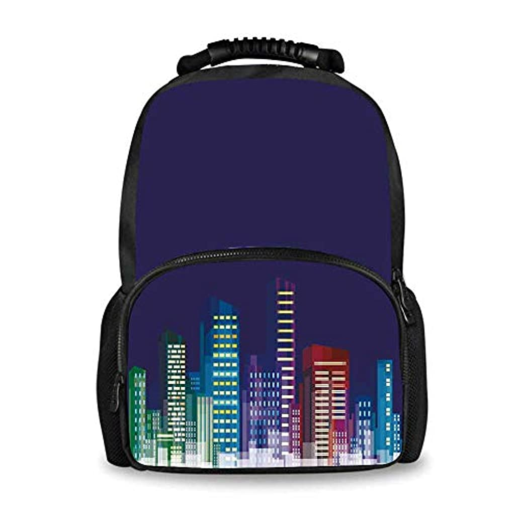 Kids Decor Adorable School Bag,Cartoon Print of City Scenery Landscape of Apartments and Buildings Artwork for Boys,12