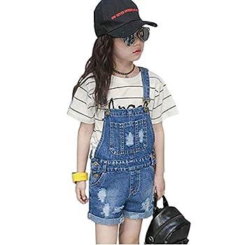 Digirlsor Kids Girls Shortalls Adjustable Strap Ripped Denim Bib Overall Shorts Summer Short Jeans Pants 3-12 Years