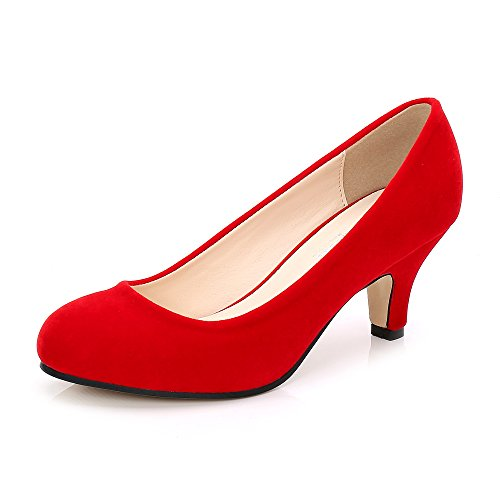 OCHENTA Zapatos de tacón de gatito para mujer con puntera redonda, color, talla 43 EU