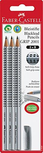 Faber-Castell 117097 - Bleistift GRIP 2001, Härtegrad B, 3er Packung mit einem Radierer