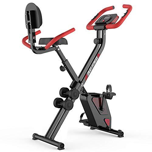 pooboo Folding Magnetic Upright Exercise Bike Indoor Cycling Bike Stationary Bike
