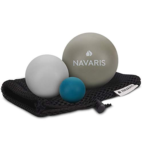 Navaris Massageball 3er Set Faszien Massage - Selbstmassage Gummi Faszienball Lacrosse Ball Trigger Point - Fuß Roller Triggerpunkte