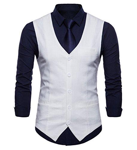 INVACHI Chaleco de traje de algodón y lino con cuello en V para hombre, de corte ajustado, para tiempo libre. Blanco L
