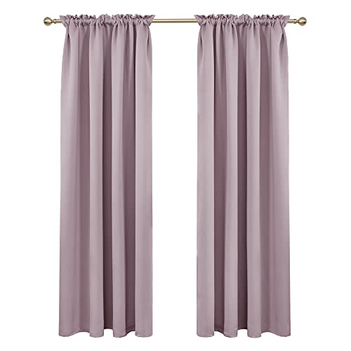 Deconovo Pink Lavender Blackout Curtains Rod Pocket Curtain Panels Room Darkening Curtains for Bedroom 52W x 84L Inch 2 Panels