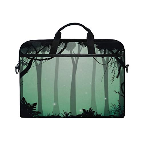 Laptop Bag Illustration Deep Forest Jungle Silhouette Night 15-15.4 Inch Laptop Case Sleeve, Briefcase Messenger Shoulder Bag for Men Women, College Students Business People Office Workers
