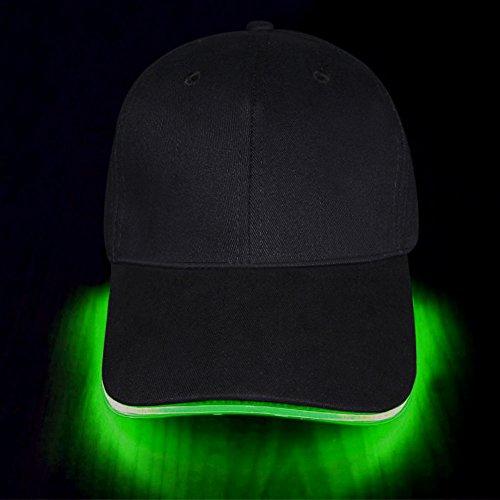 LED Kappe Baseball Cap LED Hut für Party Club Bar Sportlich Reise, Unisex, Käppi mit LEDs Blinkt, Kommen mit Batterien, von Fashion&Cool (Grün)