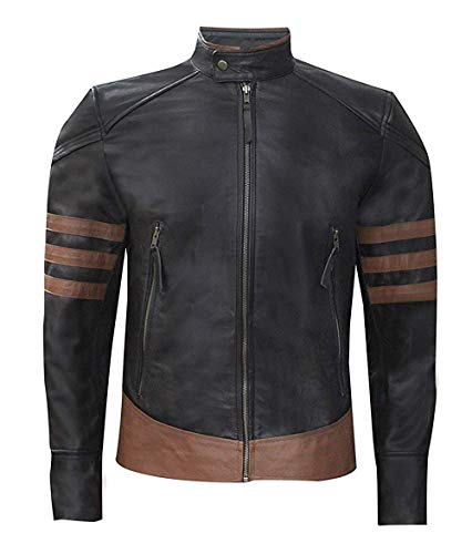 Roshan Mens X-Men Origins Wolverine Hugh Jackman Strips Design Genuine Leather Jacket - Brown - Medium