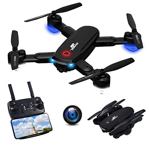 RCtown R10 Foldable FPV Drone with Camera 720P for Adults, WiFi FPV Live Video RC Quadcopter with Altitude Hold, Follow Me, Gesture Photography