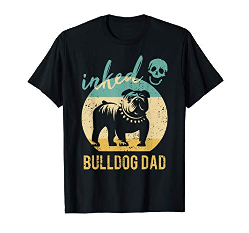 Herren Bulldoggen Papa Tätowiert Old English Bulldog Dad Tattoos T-Shirt