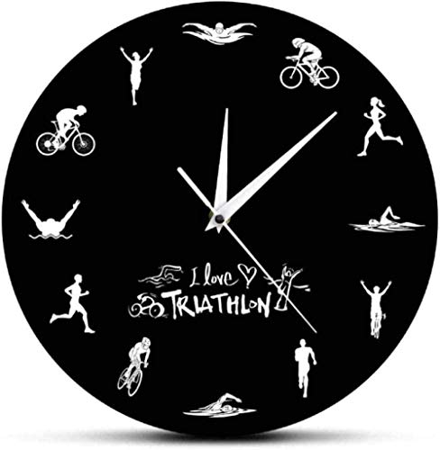 Relojes De Pared Triatlón Reloj De Pared Moderno Natación Bicicleta Ciclismo Correr Deportes Decoración Del Hogar Reloj De Pared Triatleta Reloj Para Aficionados De Triatlón Regalo 30X30Cm