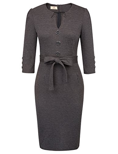 GRACE KARIN Retro Chic Career Casual Fitted Pencil Dress Women S Dark Grey
