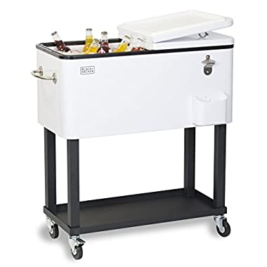 BLACK+DECKER Mobile Cooler Cart, Two Door Seal Lid, Bottle Opener with Catch Basin, Bottom Storage Tray, 4 Rolling Wheels, White, BCC20W