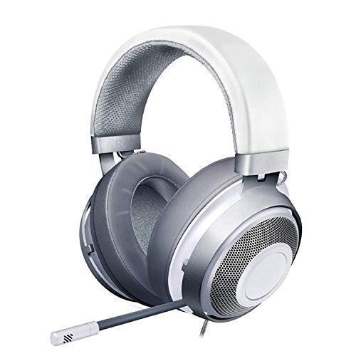 YYZLG Casque de Jeu Écouteurs, Cadre en Aluminium léger Microphone à réduction de Bruit rétractable 7.1 Casque Surround Rose Crystal Water Silver-White
