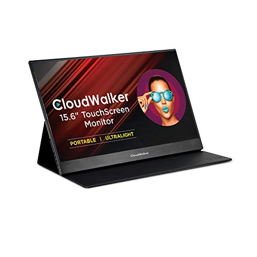CloudWalker 40 cm (15.6 inches) Full HD Portable Computer Touch Monitor with Built-in Speakers, Stand Cum Carry Folder | Super-Slim (4 mm) | IPS Panel | HDR Display | CTM 15T (Black)