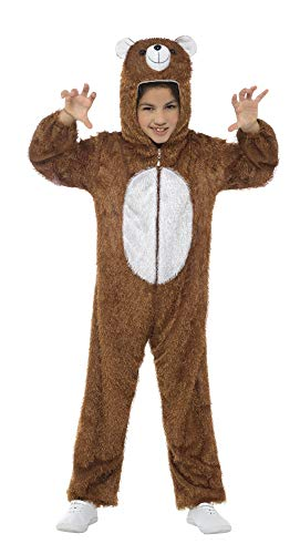 Smiffys Kinder Unisex Bär Kostüm, Jumpsuit mit Kapuze, Größe: M, 30014