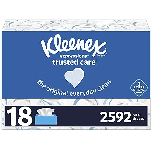 Kleenex Expressions Trusted Care Pañuelos faciales, 18 cajas planas, 144 pañuelos por caja, 2592 tejidos totales