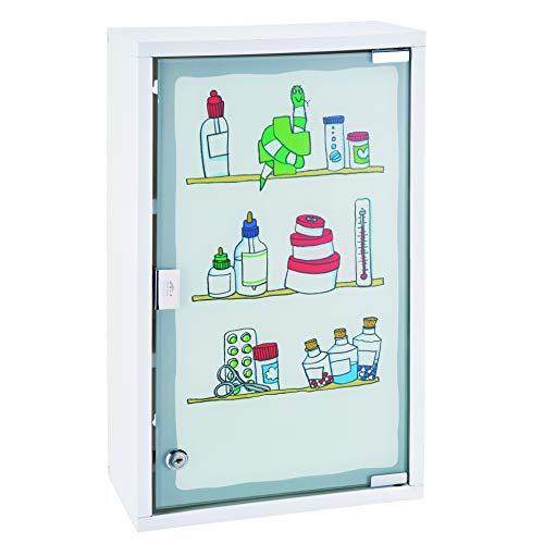 HI Medizinschrank Metall mit Glastür und Schloss (bedruckt) in Weiß - Arzneimittel Schrank zur Medikamenten Aufbewahrung, abschließbares Schränkchen, Hängeschrank mit Glastür