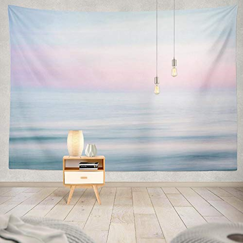 Ocean Tapestry,ONELZ The Beach Tapestry Sunset Sky and Blue Tapestry Ocean Nature with Beach Pink Tapestries Pastel Tapestry Wall Tapestry for Bedroom 50 L x 60 W,Pink Sunset