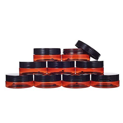 BENECREAT 12 Pack 50ml Tarro Vacío de Cosmético Cajita de Crema Facial con Diseño a Prueba de Fugas Marrón Resistente a Rayo UV Tamaño Portátil Ideal para Llevar y Viajar