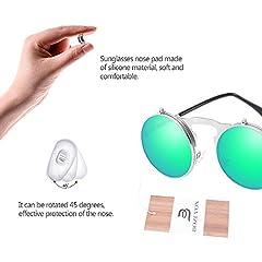 BOZEVON Flip up Round Sunglasses - Metal Steampunk Retro Circle Eyewear for Men & Women Silver Green #2