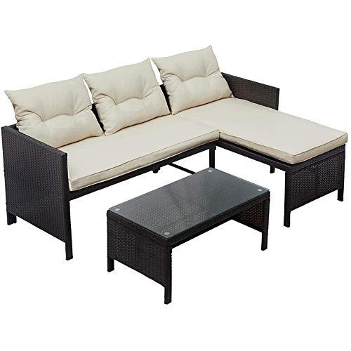 DNNAL Rattan Wicker Sofa-Satz, Patio Möbel Doppelsitz und Liege Couch Sitz für Garten Balkon Terrasse am Pool Indoor (3 Stück)