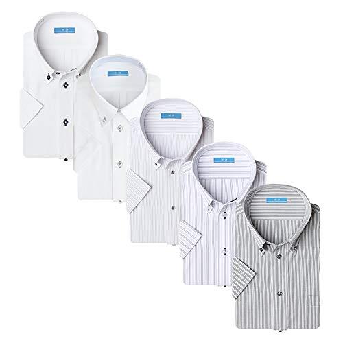[アトリエサンロクゴ] ワイシャツセット 半袖 ワイシャツ 5枚セット 形態安定 クールビズ メンズ イージーケア 豊富なデザイン sa02 Aset-SS-19 L(首回り41cm)