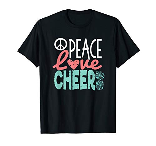 Peace Love Cheer, Cute Cheerleader Gifts Teen Cheerleading T-Shirt