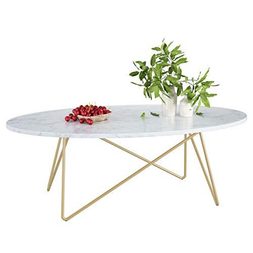 Homfa Beistelltisch Couchtisch Wohnzimmertisch Kaffetisch Oval aus Metall und Holz Marmor Weiß Gold 120x60x41cm