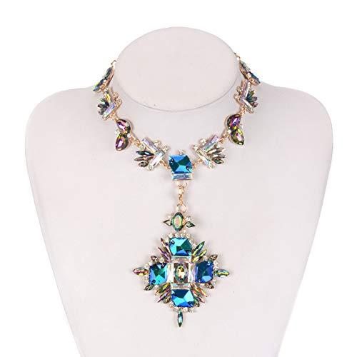 HJG Collar Llamativo Vintage con Cristal, Collar Babero Gargantilla con bisutería Colgante de Piedras Preciosas para Mujer,Azul