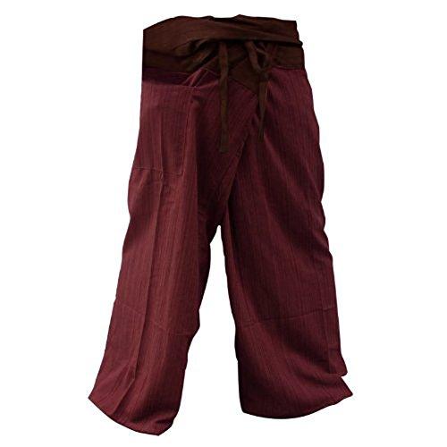 Marrón y Granate 2Tono Thai Pescador Pantalones de Yoga Pantalones