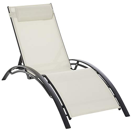 Outsunny Tumbona Reclinable con Respaldo Ajustable en 5 Posiciones y Reposacabezas Extraíble Acolchado Aluminio Textilene para Jardín Terraza Balcón 171x64x82 cm Beige