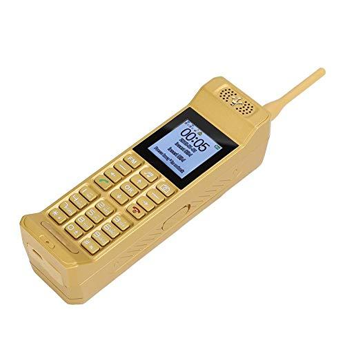 T osuny Klassisches altes Vintage Retro-Handy, Dual Card Dual Standby 2G 4-Frequenz GSM850/900/1800/1900 Handy mit LED-Taschenlampe, kleines Retro-Handy(Gold)