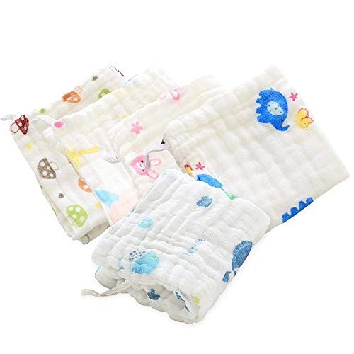Mom's Home Organic Cotton Baby Muslin Wash Cloths Towels/Wipes (Pack of 5)- 30x30 cm