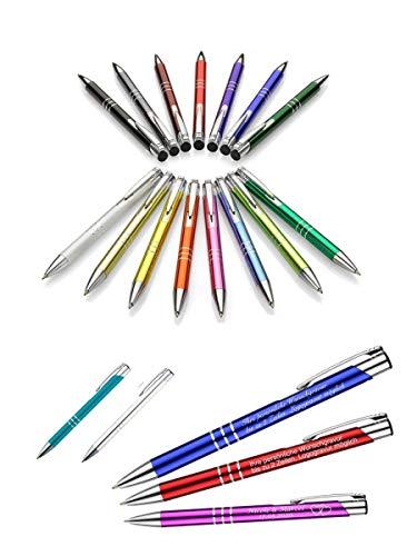 Metall - Kugelschreiber ASCOT mit Lasergravur/Gravur - Farben sortenrein oder Gemischt (alle mit gleicher Gravur), Menge:50 Stück;Farbe:Gemischt