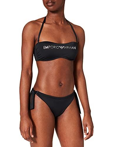 costume da bagno donna armani Emporio Armani Swimwear REM.Cups Band & Brazilian W/Bows Bikini Light Logo