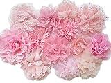 YYCRAFT Chiffon-Blume zum Nähen Verzieren, Baby Mädchen Stirnband Haarschleifen Basteln, 3'-4.5' Pink Mix, 3'-4.5'