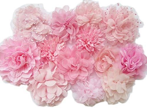 YYCRAFT Chiffon-Blume zum Nähen Verzieren, Baby Mädchen Stirnband Haarschleifen Basteln, 3