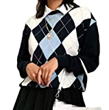 Women Argyle Plaid Sweater Pullover Long Sleeve V Neck Preppy Y2K E-Girl Sweater Autumn Winter (Navy Blue, F)