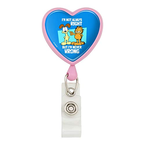 Garfield and Odie I'm Never Wrong Heart Lanyard Retractable Reel Badge ID Card Holder