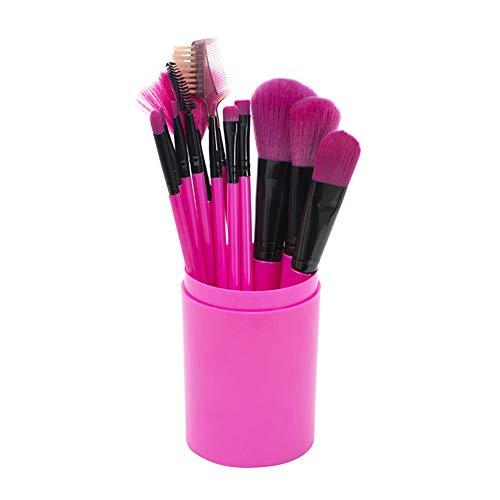 Beashine Pinceaux de Maquillage 12 pièces Pinceau Maquillage pour Liquide Poudre Crème Eyeliner et Fard à Paupières Concealer Yeux Visage Brosses Kit avec étui, Rose Rouge