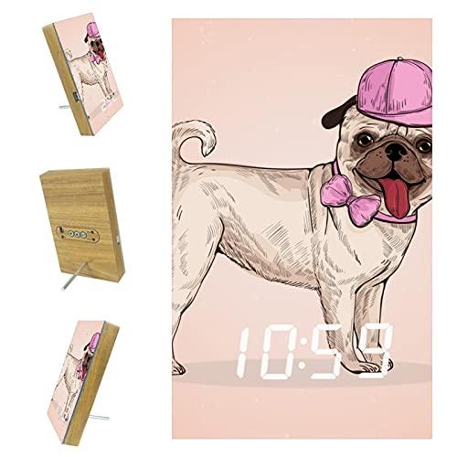 Reloj despertador digital LED grande con puerto USB, adecuado para cargador de teléfono móvil, enchufe, para ancianos, niño encantador perro perro perro perro con tapa rosa-01