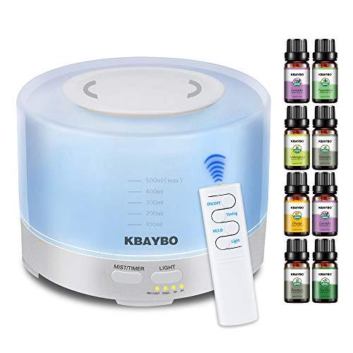 KBAYBO Humidificador ultrasónico de aromaterapia 500ml, 8 Piezas de Paquete de Regalo de difusor de aceites Esenciales LED de 7 Colores y 4 configuraciones de Tiempo