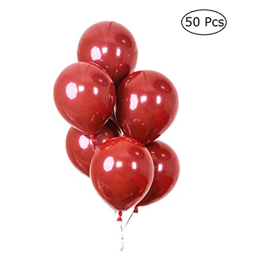 JANOU Ruby Red Balloons Jewel Red Latex Balloons 10 Inch Birthday Wedding Party Decoration Pack 50pcs