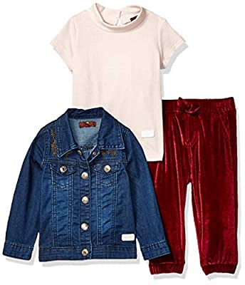 7 For All Mankind Baby Girls Jacket, Short Sleeve Tee and Pant Set, Dark Wash/Zinfandel, 24M