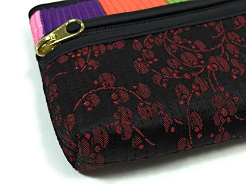 Fashion Shopping Bag FabCloud mini Rainbow floral black bright by WiseGloves, pocket cosmetic make
