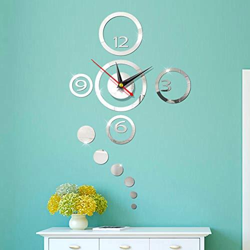 farsky DIY Wanduhr, 3D stille rahmenlose Wanduhr kann für Wohnzimmer Büro und Heimdekoration Spiegel Wanduhr (Silber) verwendet Werden
