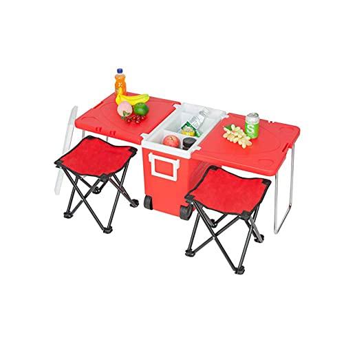 SuRose Cooler Bag, Multi Cooler Rolling Function Picnic Camping Cooler Almacenamiento Alimentos Bebidas Mesa Plegable portátil con 2 sillas y Bolsa de Transporte, Rojo