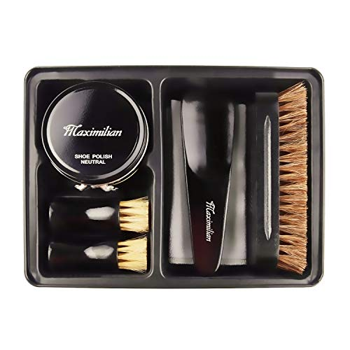 MAXIMILIAN Deluxe Business Leather Shoe Care Kit&Shoe Shine Kit - 2 Shoe Polish Applicator Brush, 100% Horsehair Brush, Black & Neutral Polish (40g), Shoehorn, Buffing/Shining Cloth